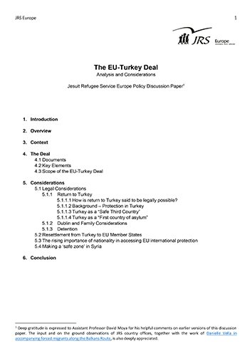 The EU Turkey Deal (2016) - JRS
